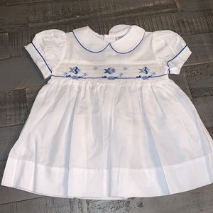 Friedknit Creations Blue/White Fish Dress- 6 Month